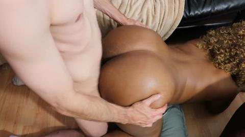 Nice big black booty is too much for this skinny white man to handle