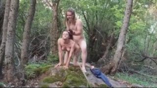 Wild couple hardcore fucking in the forest