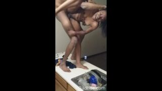 Black couple wild acrobatic sex – bending her up in all sorts of position
